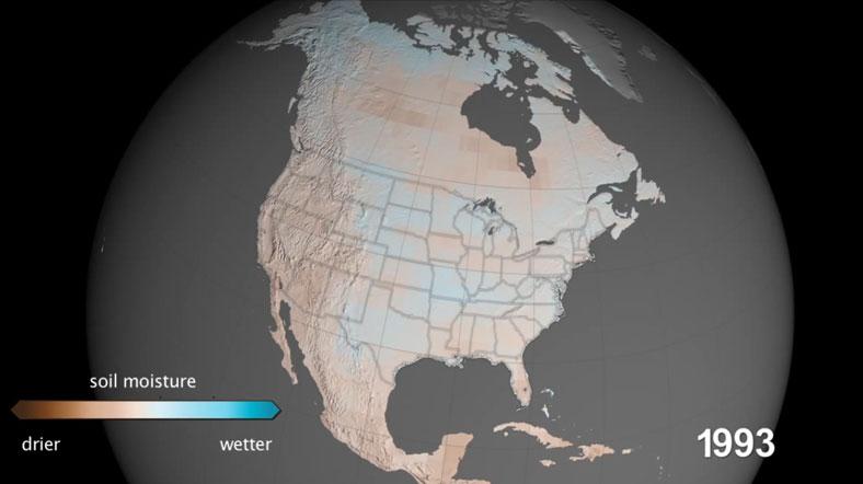 Kuraklık tehlikesinin olmadığı 1993'ten bu yana tablo tersine döndü [Fotoğraf: NASA]