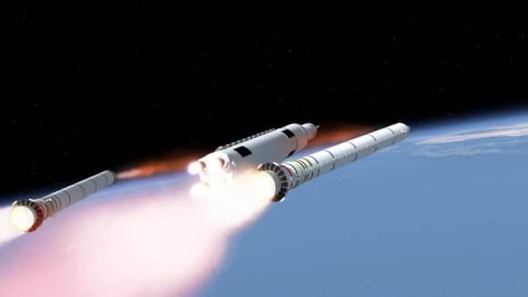 Katı yakıtlı ateşleyiciler ilk kademenin sonunda SLS gövdesinden ayrılıyor. [Çizim: NASA]