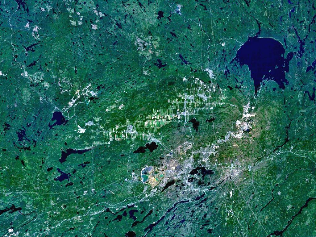 Sadbury kraterinin etkilediği ve iz bıraktığı alan. [NASA]