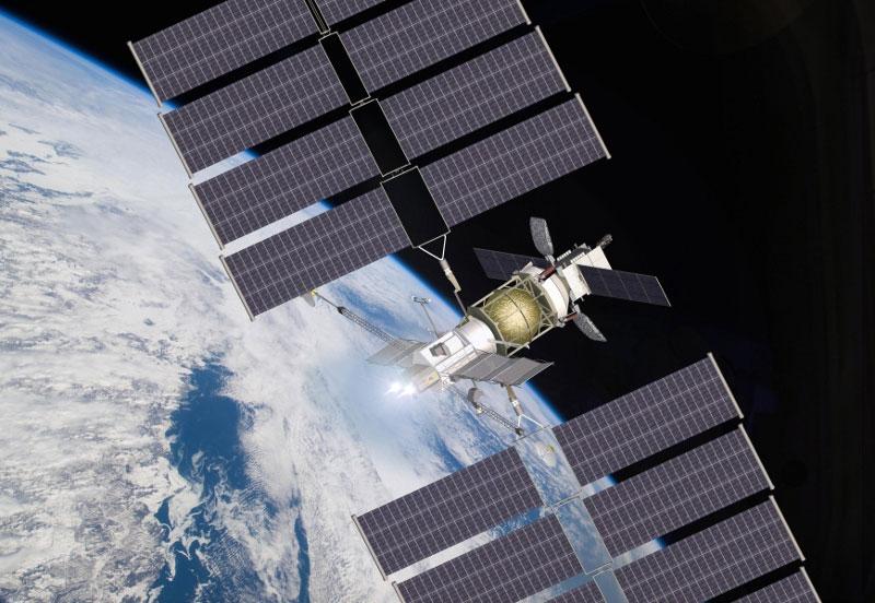 VASIMR kullanan uzay aracının uzay istasyonuna ulaşmasını gösteren çizim. [Ad Astra Rocket]