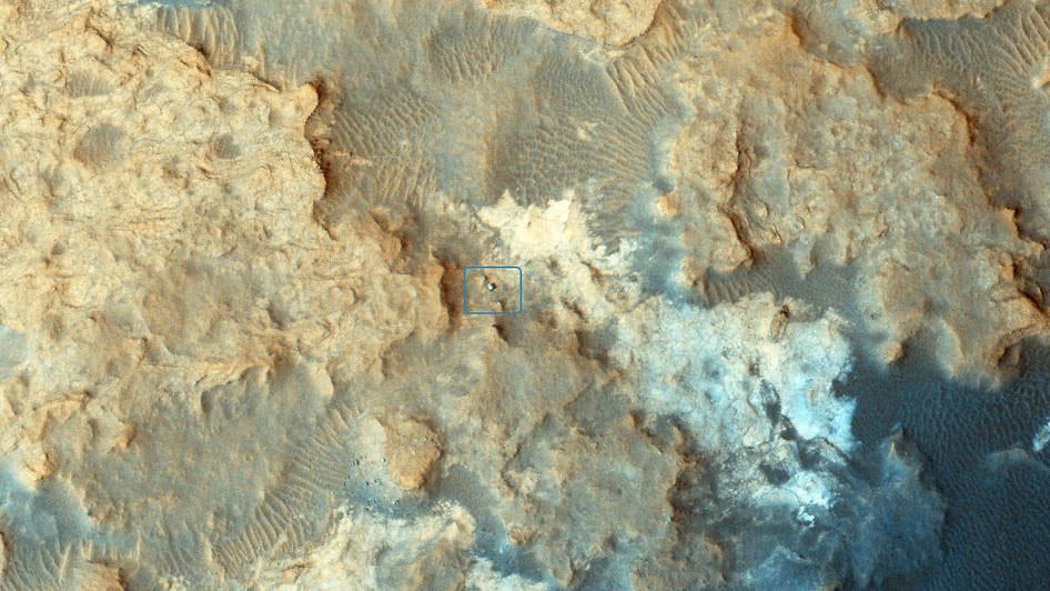Mars Yörünge Kaşifi'nin (MRO) HiRISE kamerasından Pahrump Tepeleri'ndeki Curiosity'nin konumu. [NASA/JPL-Caltech/Univ. of Arizona]