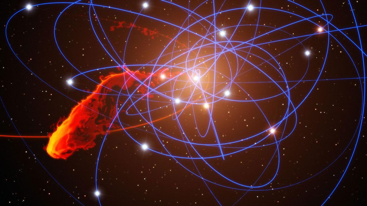 G2 ile Sagittarius A*'nın karşılaşmasını gösteren bir simülasyon. [SO/MPE/Marc Schartmann 3]