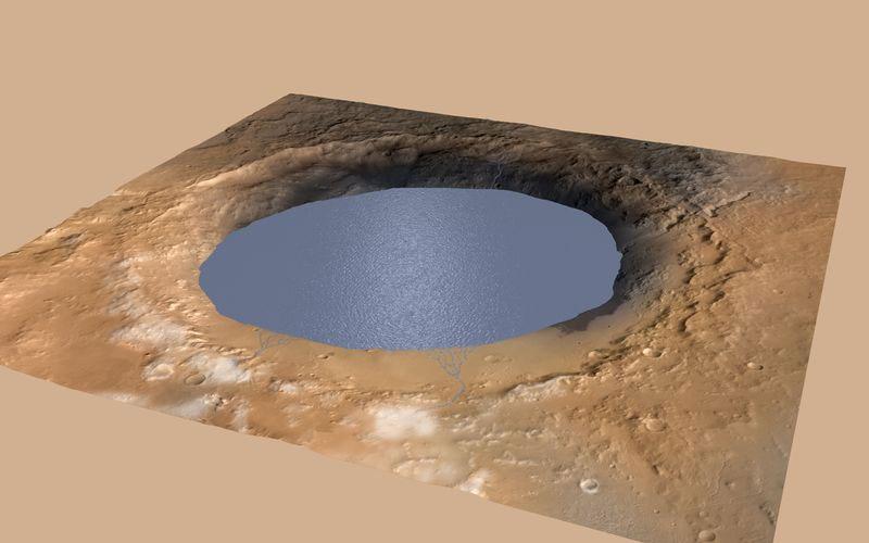 Gale Krateri'nin milyarlarca yıl önce suyla dolu olduğu biliniyor. [NASA]
