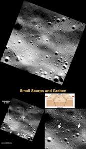 Beyaz oklar, büzülme sonucu oluşan küçük tepeleri gösteriyor. [NASA/Johns Hopkins University Applied Physics Laboratory/Carnegie Institution of Washington]