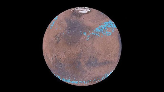 Mars'ın her iki yarımküresi binlerce buzul barındırıyor olabilir. [NASA/Nanna Karlsson]