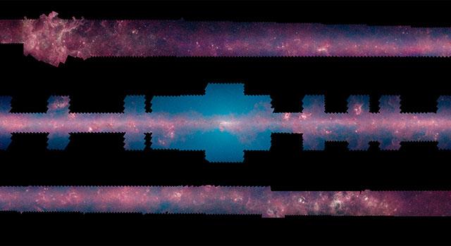 Spiral galaksi Samanyolu, düz haliyle böyle görünüyor. [NASA/JPL-Caltech/University of Wisconsin]