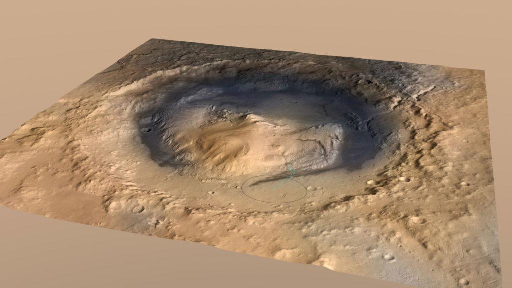 Curiosity'nin indiği nokta ile Gale Krateri'nin merkezinde yer alan Sharp Dağı'nın eteklerinde ulaştığı nokta. [NASA]