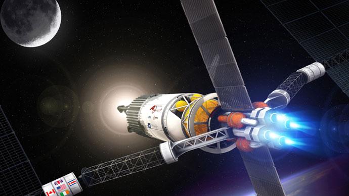 VASIMR kullanan bir uzay aracı çizimi. [Ad Astra Rocket]