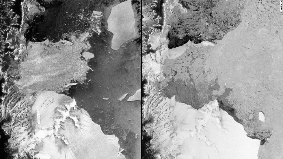 Larsen B'nin 2002 ve 2012'deki görünümü. [ESA]