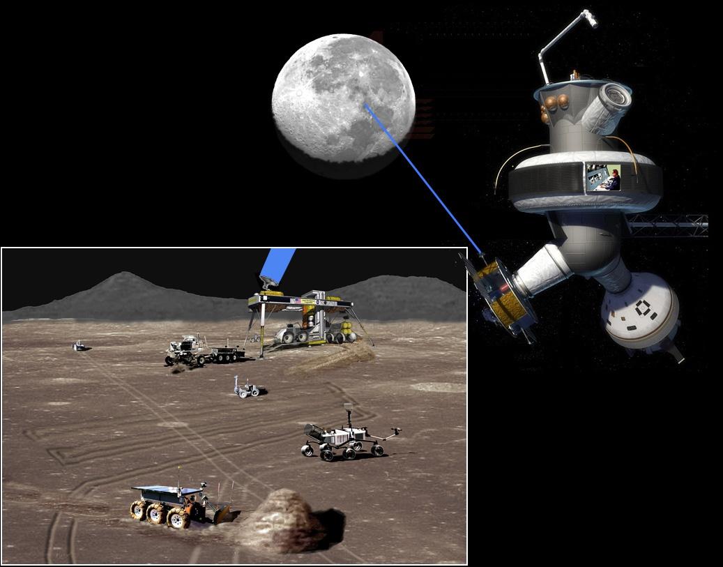 Astronotlar bir gün Ay yörüngesindeki üsten yerdeki araçları kontrol edebilir. [ Dan Lester, University of Texas]