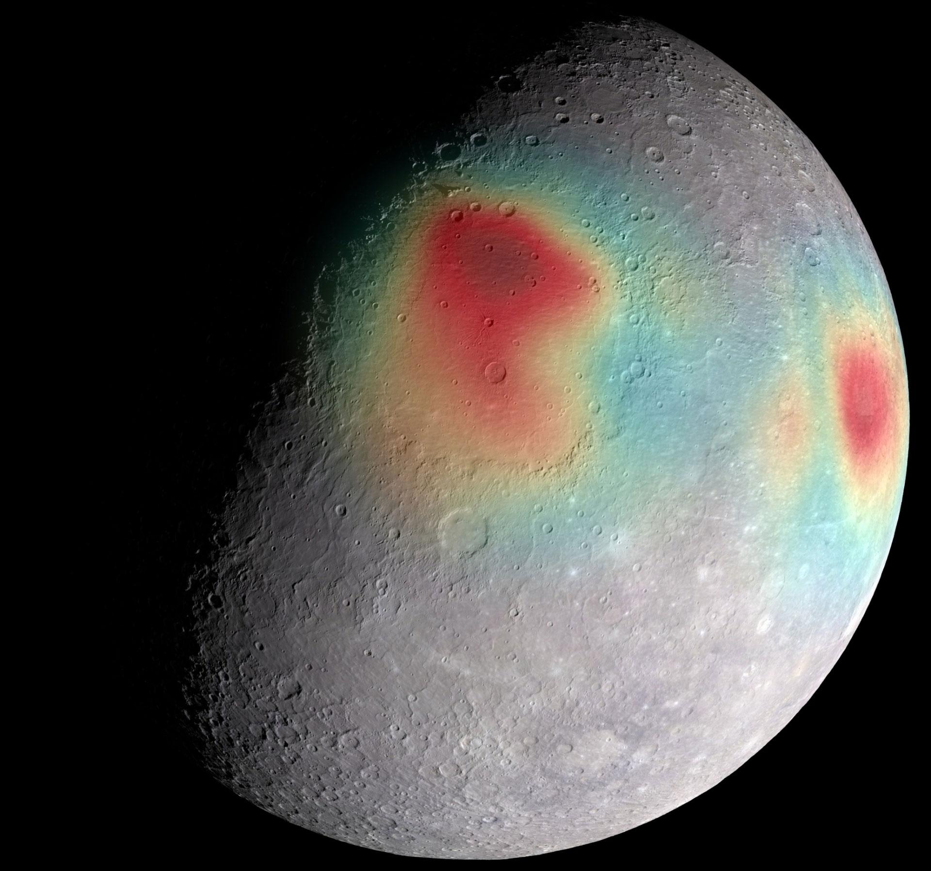 Merkür'ün yüzeyindeki çekim gücünden kaynaklanan olağandışı farklılıklar. [NASA/Johns Hopkins University Applied Physics Laboratory/Carnegie Institution of Washington]