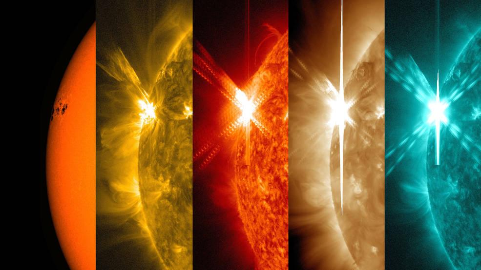 SDO, patlamayı farklı dalgaboylarındaki morötesi ışık altında böyle gözlemledi. [NASA/SDO/Wiessinger]