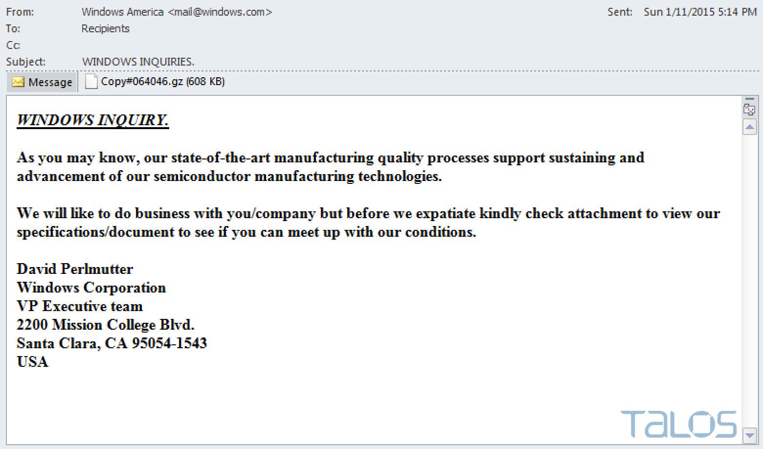 Rombertik eki içeren e-posta örneği.