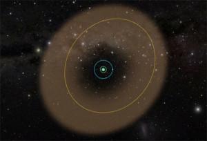 Sarı çizgi Phoebe'nin, yeşil ise Iapetus'un yörüngesini gösteriyor. Phoebe halkası Satürn sistemine çörek görünümü veriyor.[NASA]