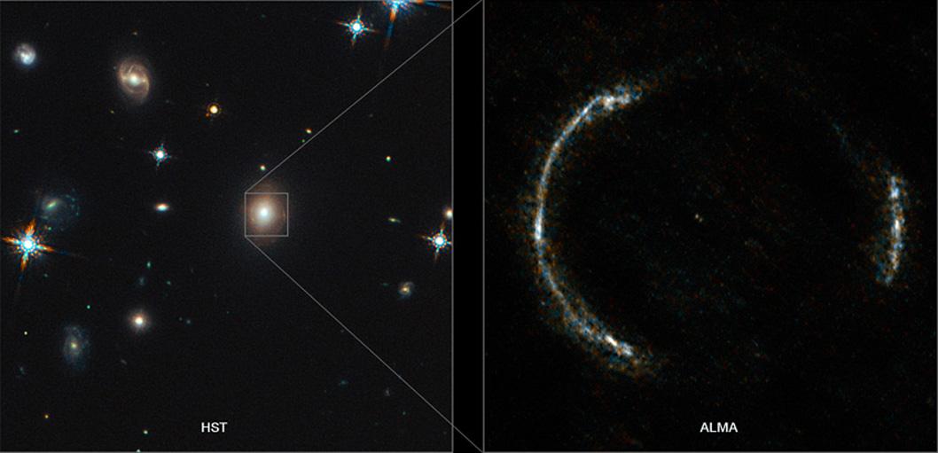 Hubble ve ALMA'nın elde ettiği SDP.81 görüntüleri. [ESO]