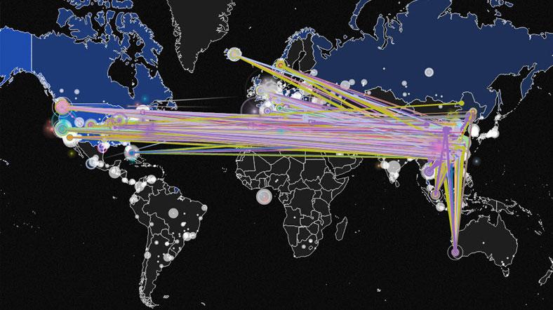 Norse gerçek zamanlı siber saldırı haritasında Çin kaynaklı saldırılar. ABD'ye bir saat içinde yaklaşık 3,500 saldırı yapılıyor.
