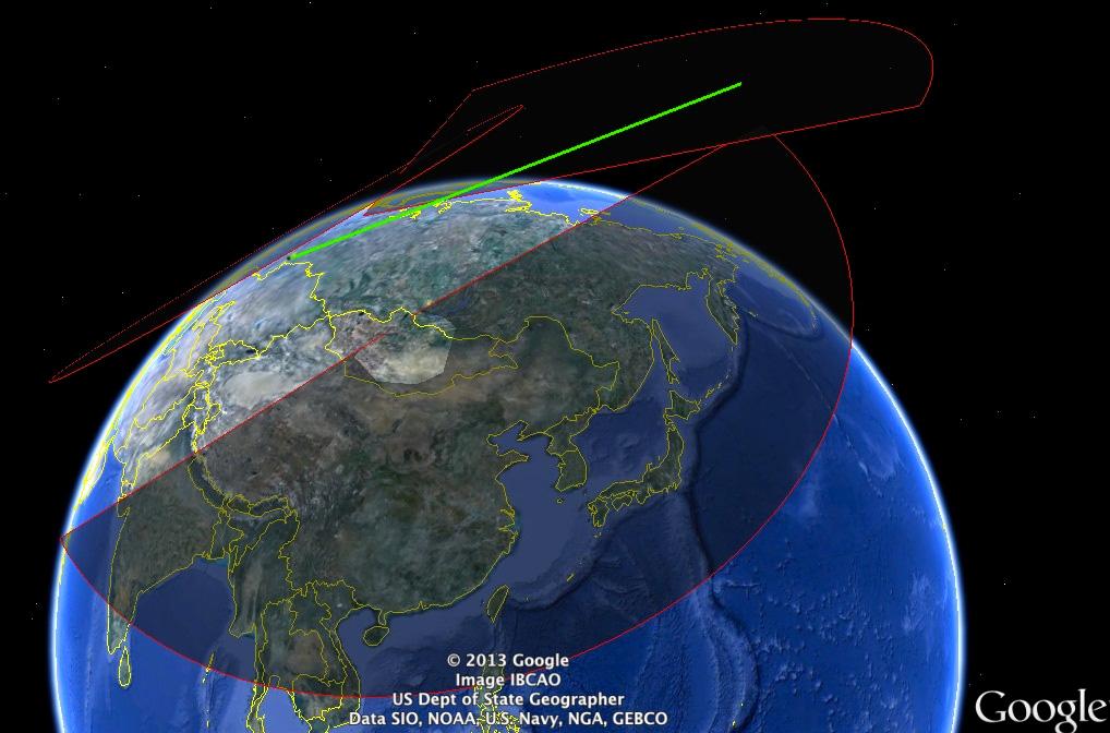 Sibirya'nın Irkutsk bölgesinde yer alan Mishelevka radar istasyonu ile Moskova'daki Don-2N radarının kapsadığı alan ve meteorun izlediği rota.