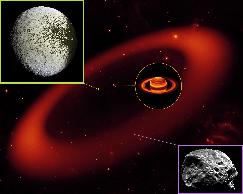 Dış uydu Phoebe'nin kalıntıları, içteki Iapetus'un bir yüzünü kararttı. [NASA]