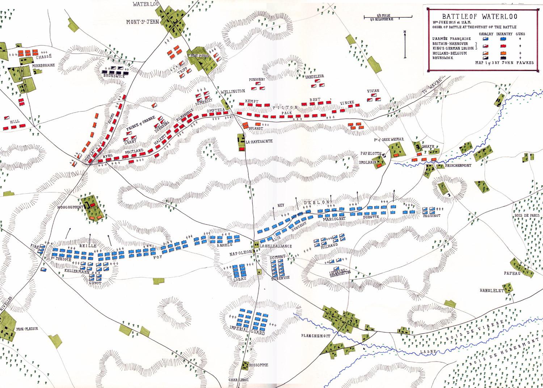 Waterloo'da sabah 11'deki ordu düzeni. [John Fawkes]