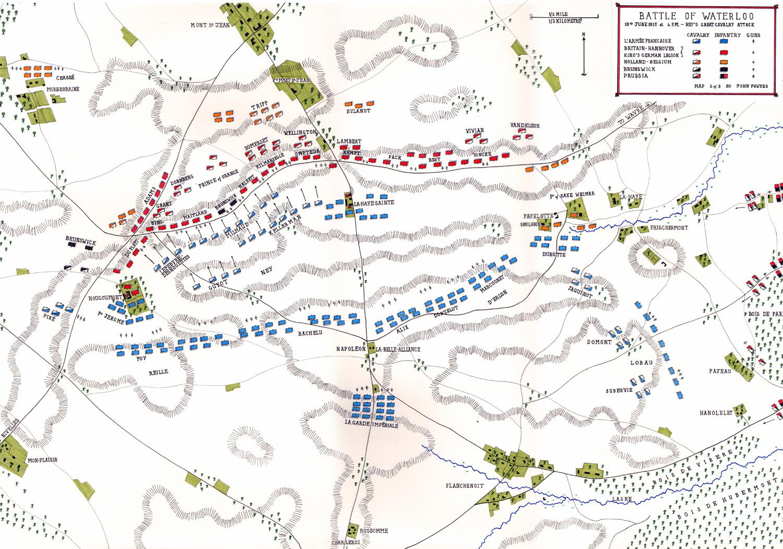 Mareşal Ney'in 16.15'te başlayan süvari hücumu. [John Fawkes]