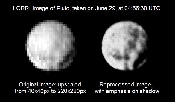 Plüton'un 29 Haziran'da çekilen fotoğrafı. Solda ham hali, sağda ise düzenlenmiş görüntüsü yer alıyor. [NASA]