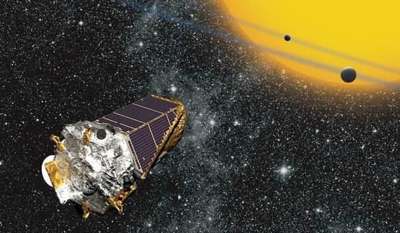 Kepler' yıldız sistemlerini gözlemlerken gezegenlerin geçişini takip ediyor.
