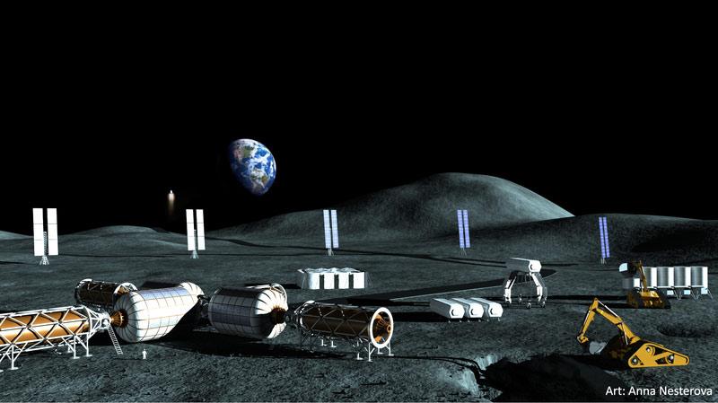 Güneş enerjili Ay kutup maden üssü ve yakıt tesisi.