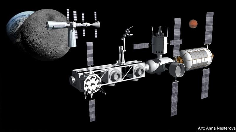 Ay yörüngesindeki yakıt depolayıcı istasyon ve Mars ulaşım aracı.