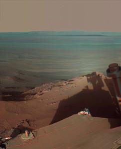Opportunity'nin Endeavour kraterinde Mayıs 2012'de çektiği bir panorama. [NASA]