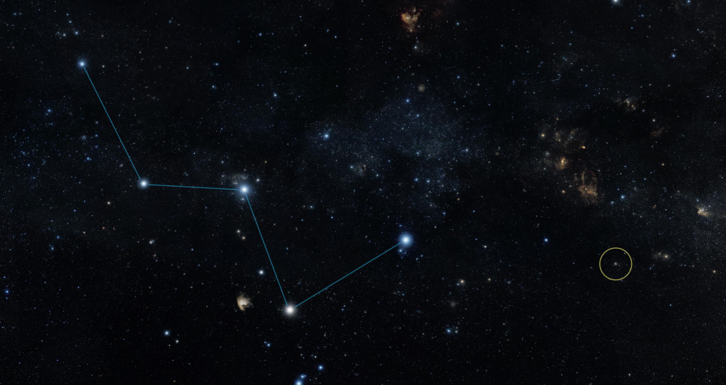 Koltuk Takımyıldızı'nın ucunda yer alan HD 219134b, daire içinde gösteriliyor. [NASA]