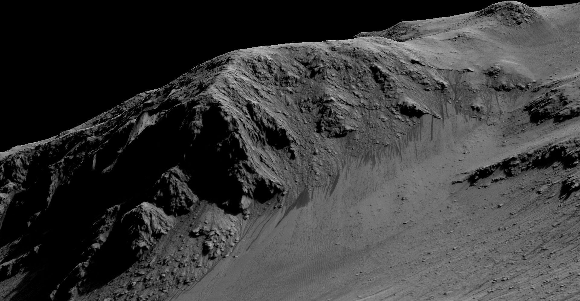 Horowitz kraterinde görüntülenen çiziklerin uzunluğu bir futbol sahası kadar. [NASA]