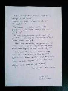 Berfin'den ikinci mektup.