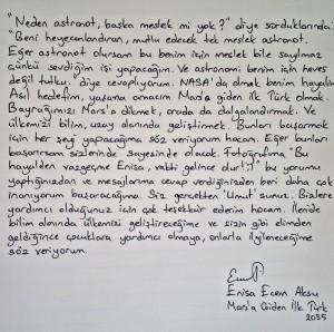 Enisa'nın mektubu.