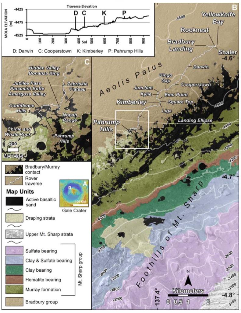 Curiosity'nin bulunduğu bölgenin haritası. [J. P. Grotzinger et al., 2015/Science]