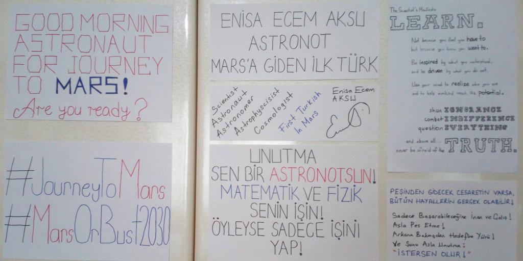 Enisa'nın odası kararlılığını güçlendiren mesajlarla dolu.