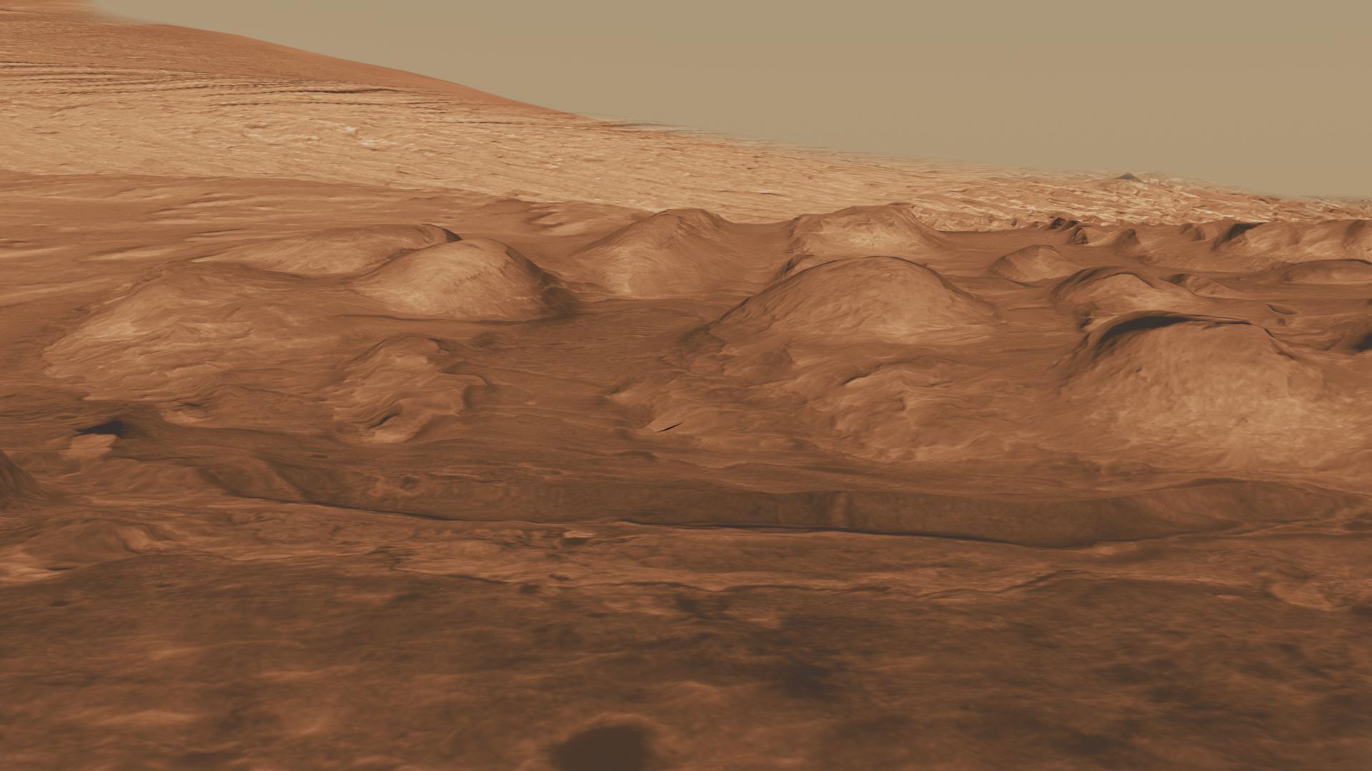 Mars'ın Gale Krateri'ndeki kayalık katmanlar. [NASA/JPL-Caltech/University of Arizona]