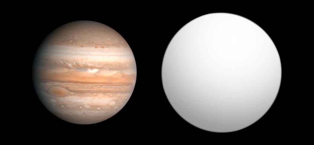 Jüpiter ile HD 189733b karşılaştırması. [Wikipedia]