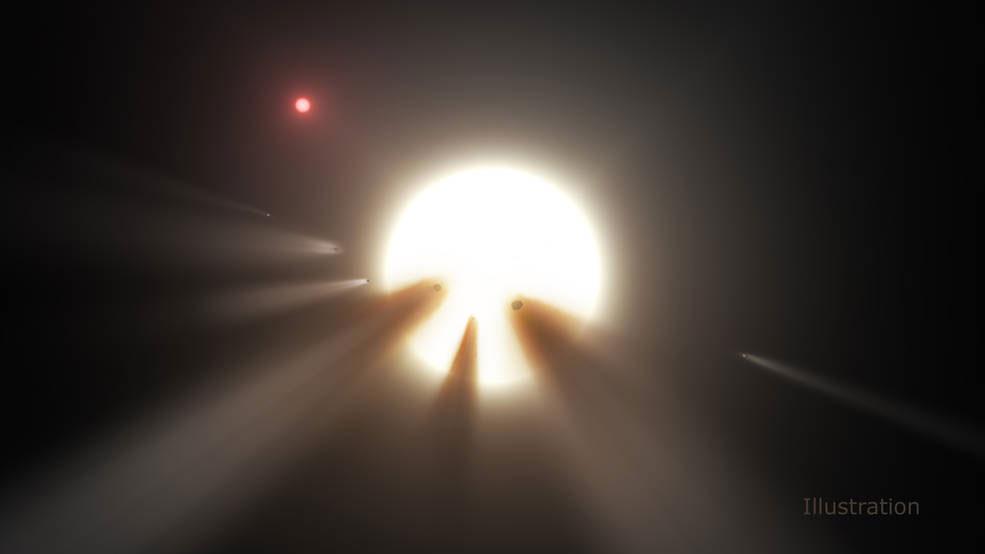 KIC 8462852 yıldızına ait kuyrukluyıldız senaryosunu tasvir eden çizim. [NASA]