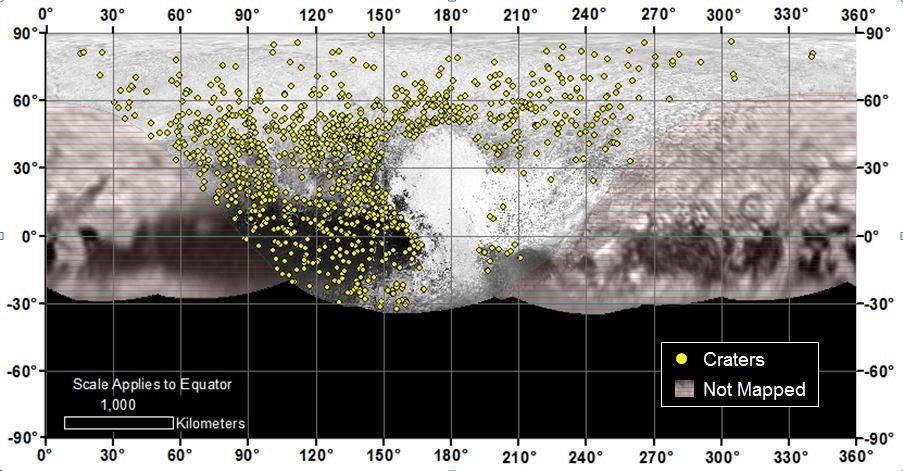 Sarı noktalar, şu ana kadar tespit edilen kraterleri gösteriyor. [NASA]