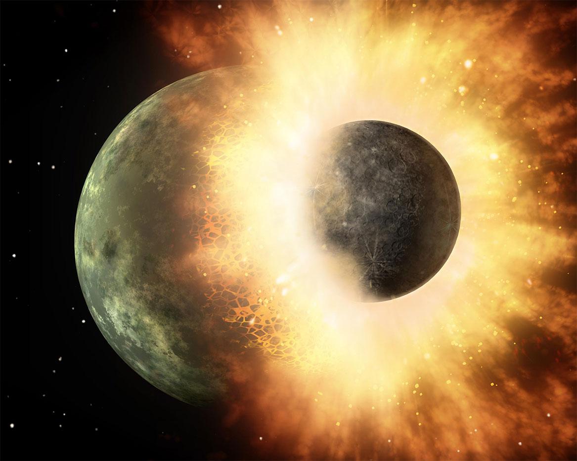 Tiamat'ın Dünya ile çarpışması. [Wikipedia]