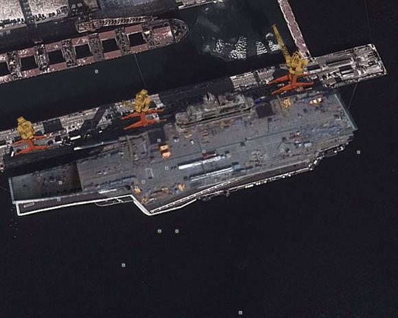 Liaoning'in limanda çekilen bir uydu görüntüsü. [Google Earth]