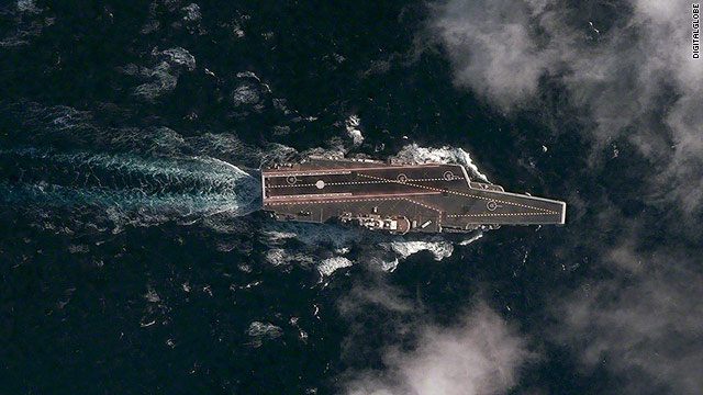 Liaoning adını alan Varyag 2011'de tatbikat'ta görülüyor. [Digital Global Analysis Center]