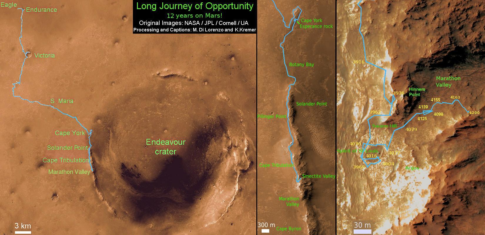 NASA'nın Opportunity keşif aracının 2004'ten bugüne 12 yıllık yol haritası.