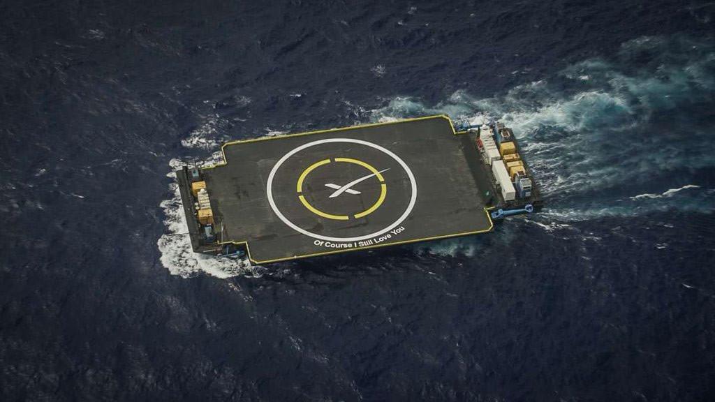 Falcon-9 için hazırlanan iniş platformu. [SpaceX]