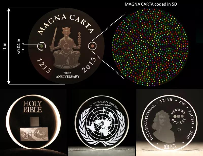 1 inç (2,54 cm) genişliğindeki cam disklere basılan örnekler. [Southampton Üniversitesi]