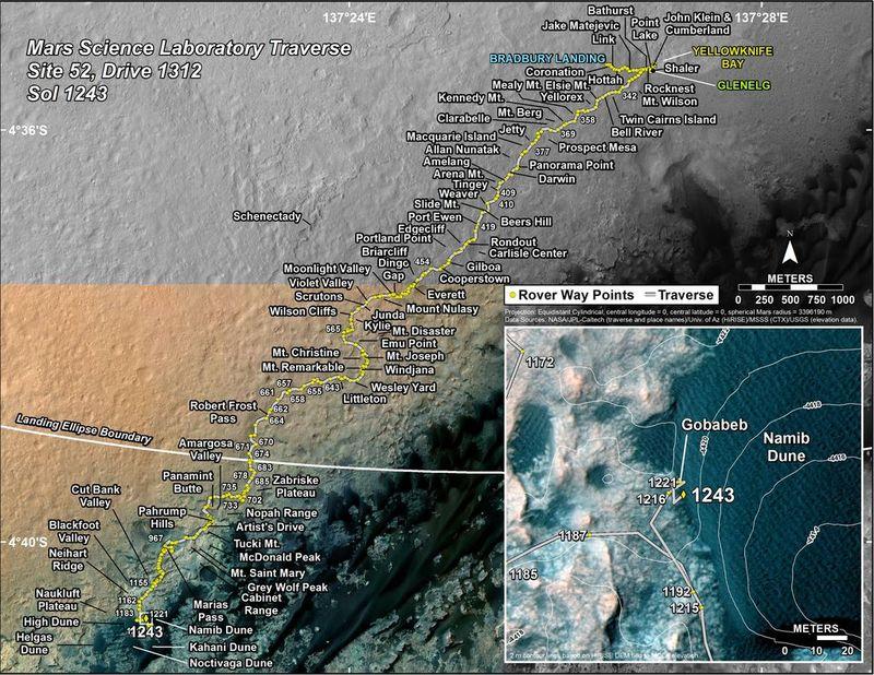 Curiosity'nin 2012'den bu yana izlediği rota. [NASA]