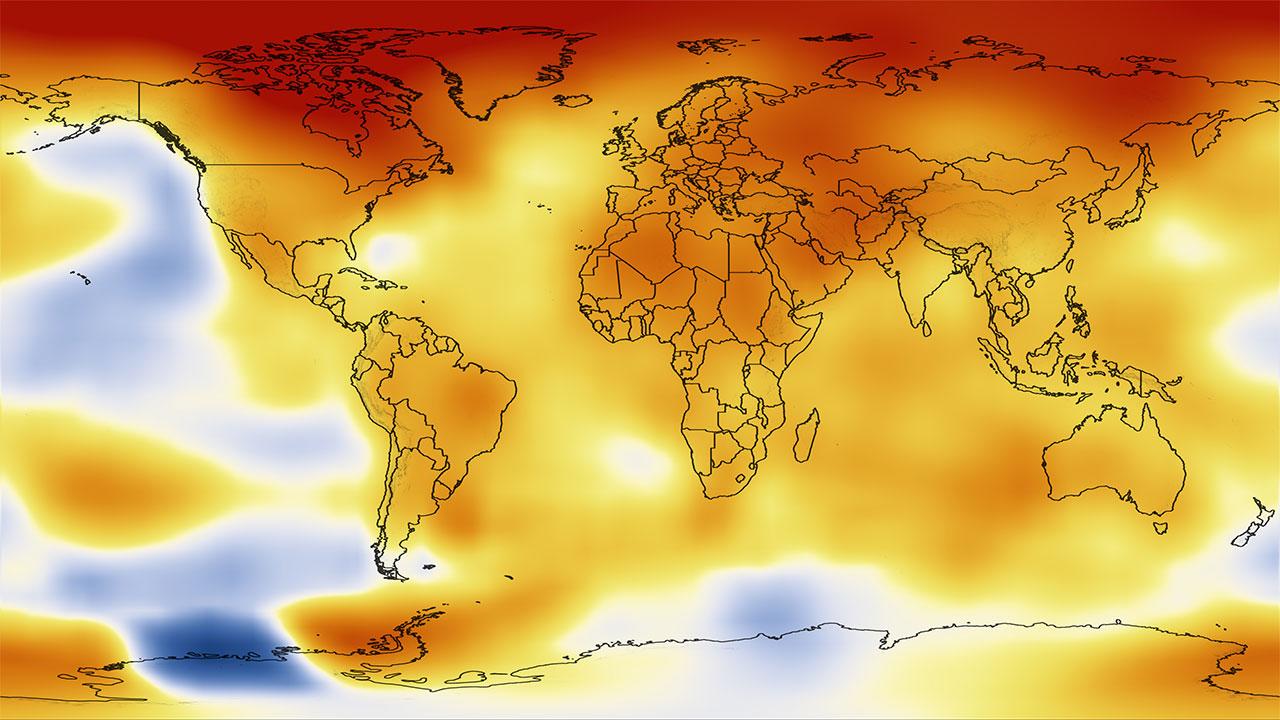 NASA'nın 2015 yılına ait küresel ısınma haritası.