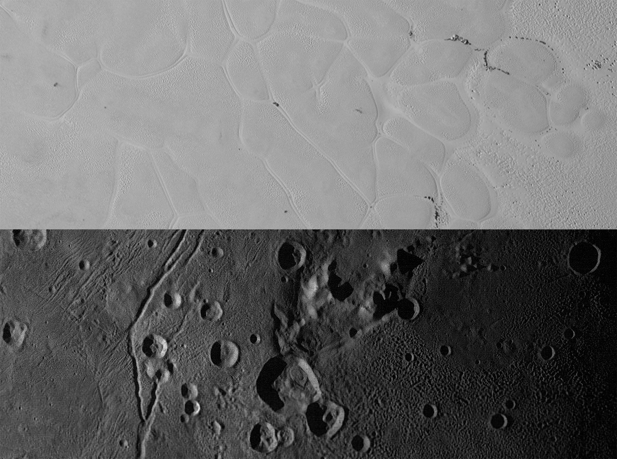 Yukarıda 367 km uzunluğundaki Sputnik Planum, aşağıda ise 312 km genişliğindeki Vulcan Planum görülüyor. Sputnik'te nitrojen düzlükler birleşen ağlarla döşenmiş. Vulcan'da ise merkezin hemen yukarısındaki Clarke Mons dağı görülüyor. Sputnik'e ait piksel başına 320 metre çözünürlükteki fotoğraf nitrojen ağırlıklı düz alanı gösterirken, piksel başına 160 metre çözünürlüğe sahip Vulcan fotoğrafı su-buz zengini düz ve karmaşık alanları gösteriyor. [NASA]