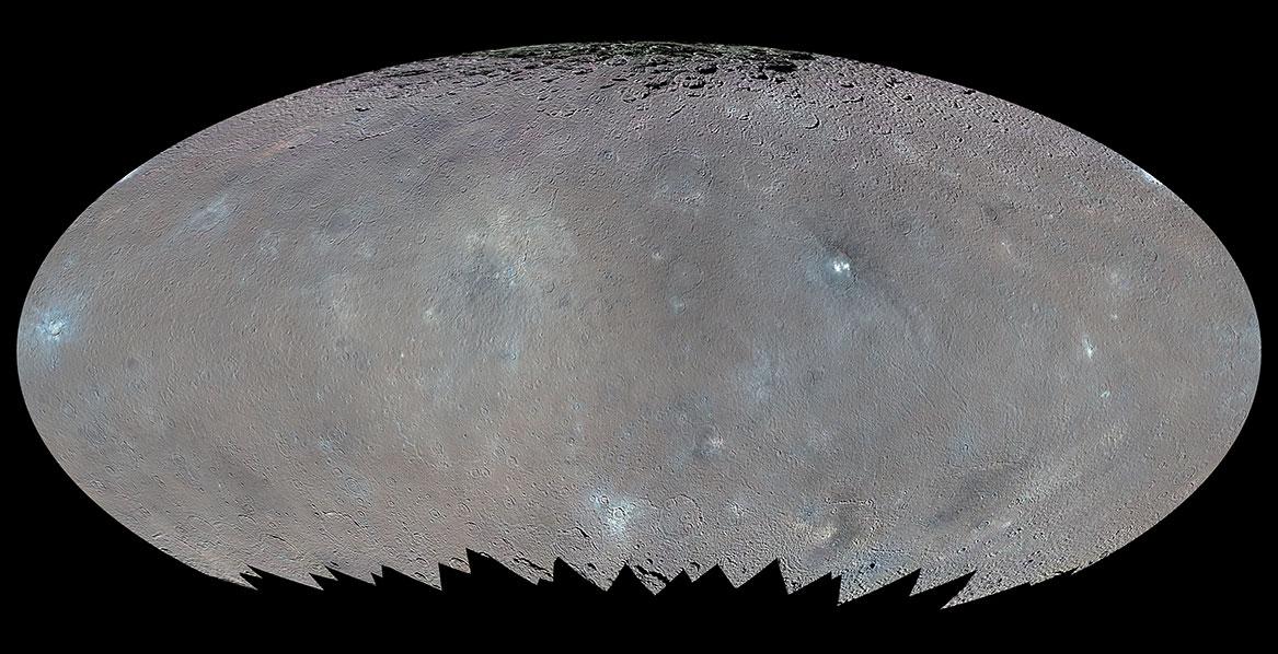 Ceres'in yüzeyini gösteren renklendirilmiş küresel harita. [NASA/JPL-Caltech/UCLA/MPS/DLR/IDA/PSI]